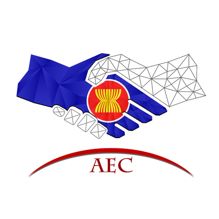 Handshake logo made from the flag of aec.