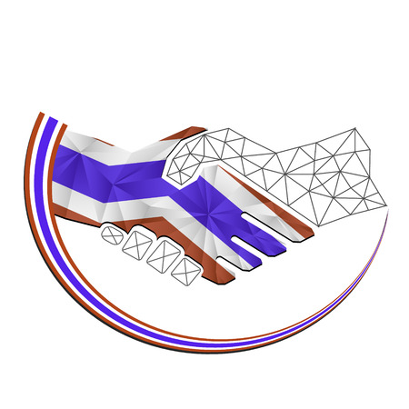 concerns: Handshake  logo made from the flag of Thailand Illustration