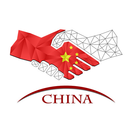 Handshake logo made from the flag of China.