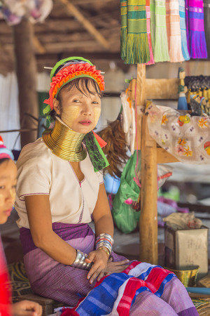 thai ethnicity: CHIANG RAI, THAILAND - November 06 : Unidentified Long Neck Karen hill tribe woman on November 06, 2016 in Chiang Rai, Thailand.