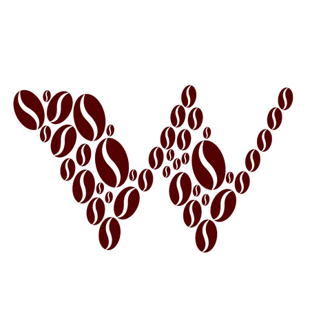 Letter w  made of coffee beans vector set Illustration
