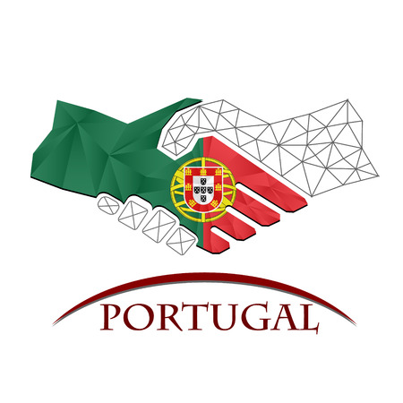 Handshake logo made from the flag of Portugal. Logó