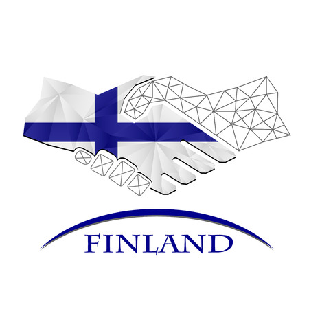 Handshake logo made from the flag of Finland.