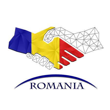 Handshake logo made from the flag of Romania.