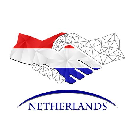 Handshake logo made from the flag of Netherlands. Logó