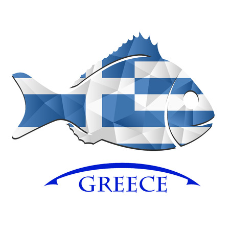 fish logo made from the flag of  Greece Illustration