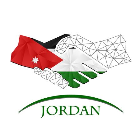 Handshake logo made from the flag of Jordan.