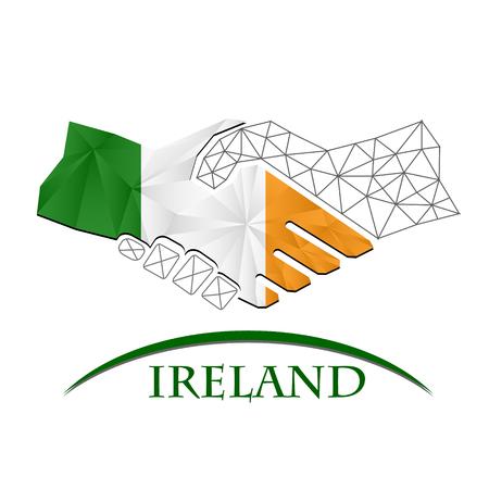 Handshake logo made from the flag of Ireland. Logó