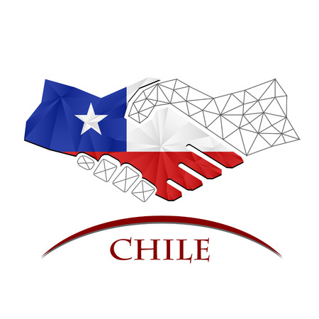 Handshake logo made from the flag of Chile.