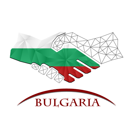 Handshake logo made from the flag of Bulgaria.