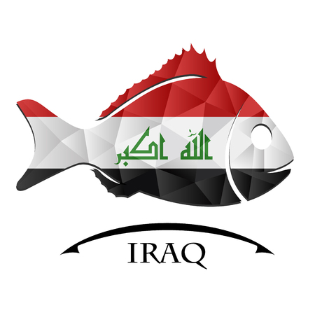 fish logo made from the flag of Iraq.