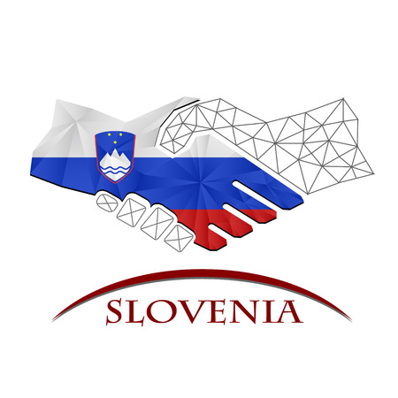 Handshake logo made from the flag of Slovenia. Illustration
