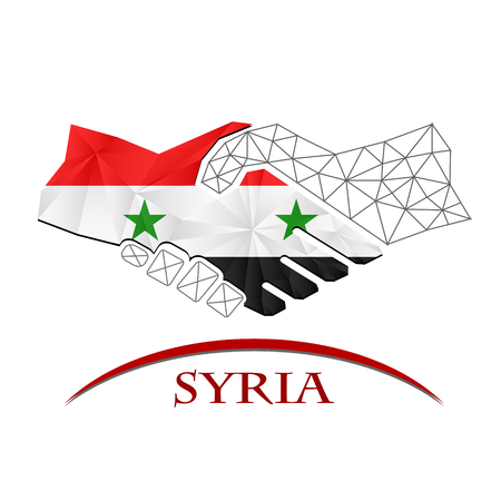 Handshake logo made from the flag of Syria.