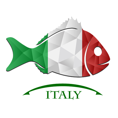 oslo: fish logo made from the flag of Italy. Illustration