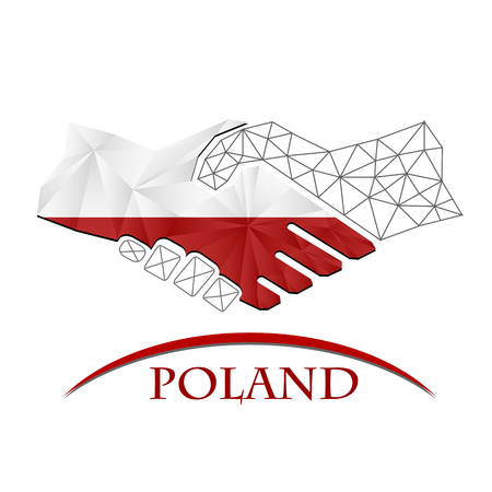 Handshake logo made from the flag of Poland.