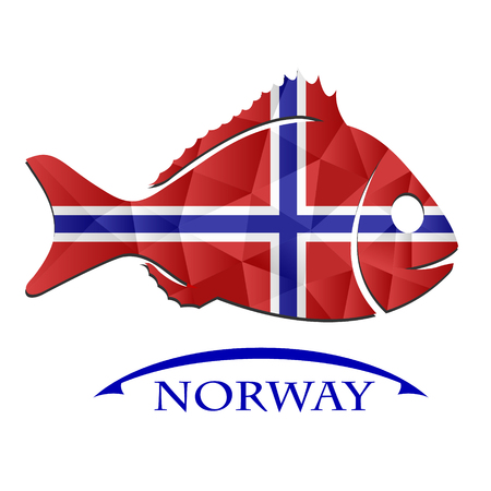 fish logo made from the flag of Norway.