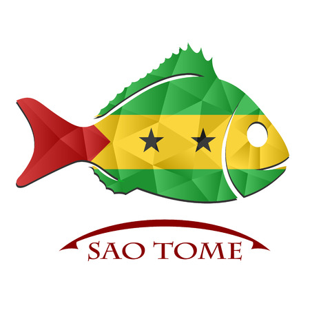 fish logo made from the flag of  Sao Tome Illustration