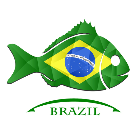 logo poisson: fish logo made from the flag of brazil.