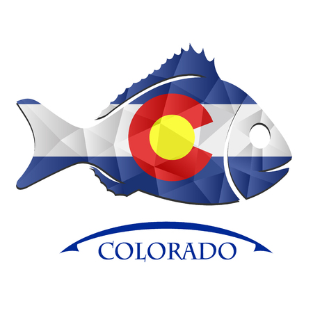 fish logo made from the flag of Colorado.