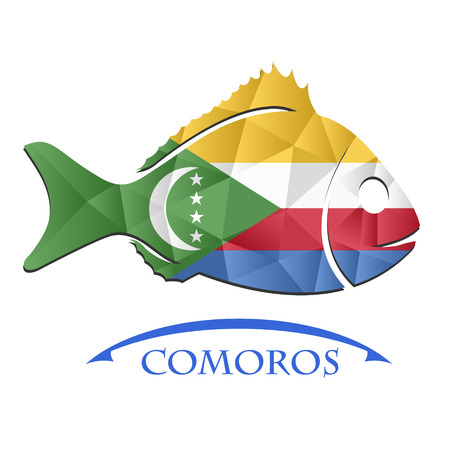 fish logo made from the flag of Comoros. Illustration