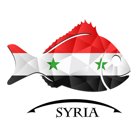 logo poisson: fish logo made from the flag of  Syria Illustration
