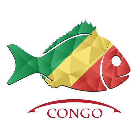 logo poisson: fish logo made from the flag of Congo. Illustration