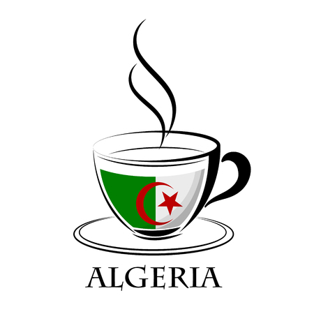 coffee logo made from the flag of Algeria