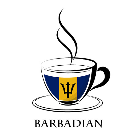 coffee logo made from the flag of Barbadian Illustration