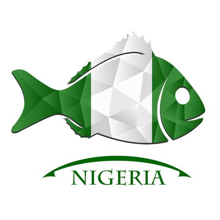country nigeria: fish logo made from the flag of Nigeria. Illustration
