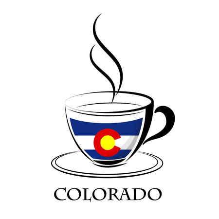 coffee logo made from the flag of Colorado Illustration