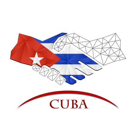 Handshake logo made from the flag of Cuba.