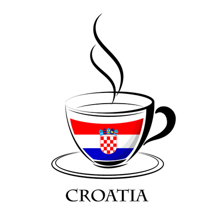 coffee logo made from the flag of croatia