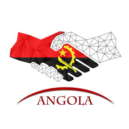 Handshake logo made from the flag of Angola. Logó