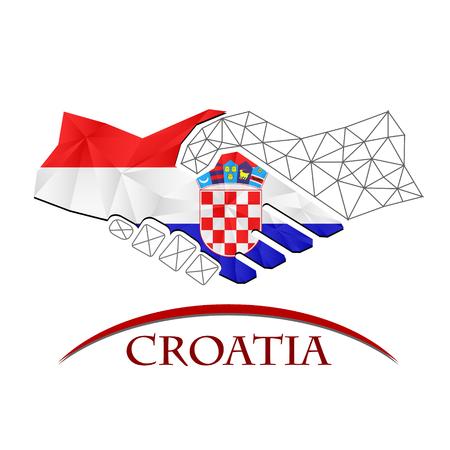 Handshake logo made from the flag of croatia. Illustration