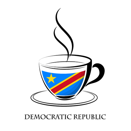 coffee logo made from the flag of Democratic Republic Illustration