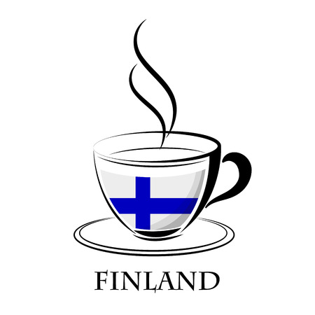coffee logo made from the flag of  Finland Illustration