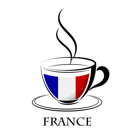 coffee logo made from the flag of  France