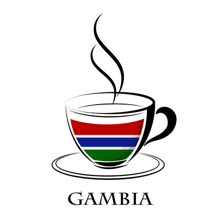coffee logo made from the flag of  Gambia