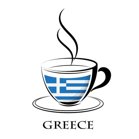 coffee logo made from the flag of Greece