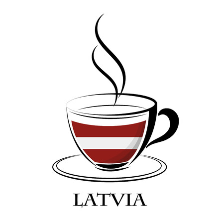 coffee logo made from the flag of Latvia
