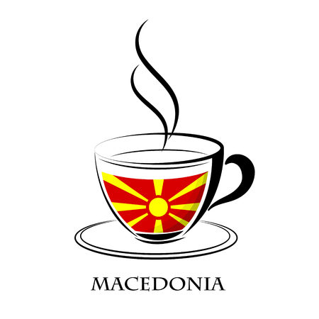 coffee logo made from the flag of Macedonia