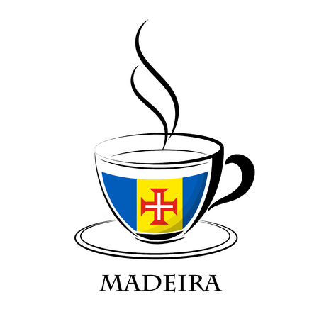 coffee logo made from the flag of Madeira Illustration