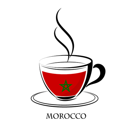 made in morocco: coffee logo made from the flag of Morocco