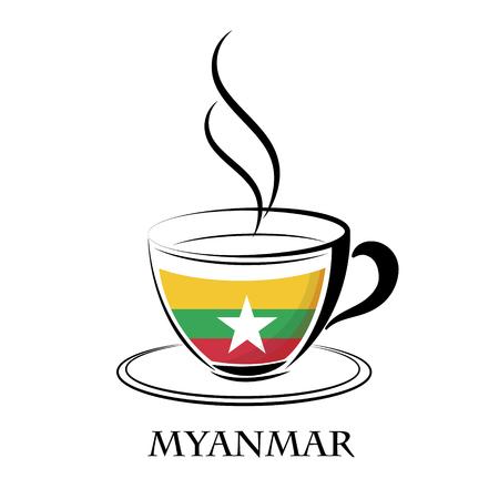 ミャンマーの国旗から作られたコーヒーのロゴ