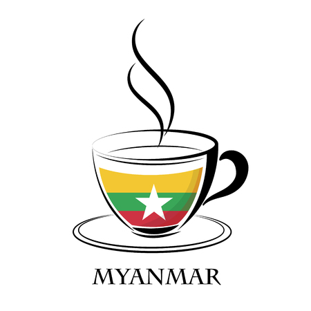 coffee logo made from the flag of Myanmar