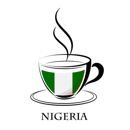 country nigeria: coffee logo made from the flag of Nigeria