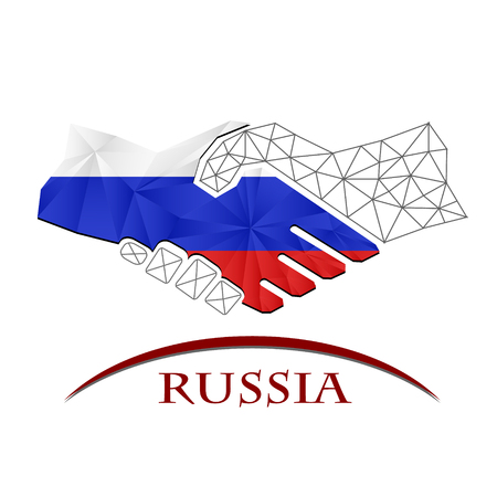 Handshake logo made from the flag of Russia. Logó