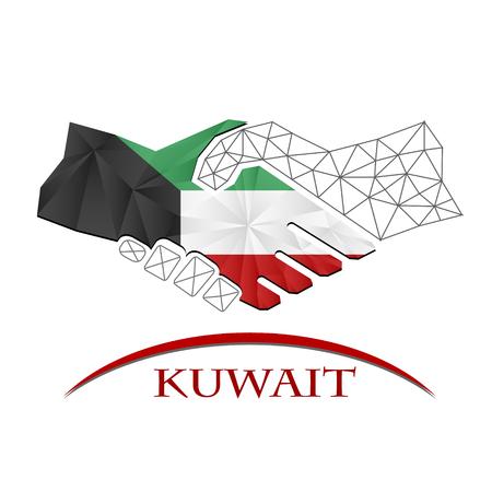 Handshake logo made from the flag of Kuwait. Reklamní fotografie - 68806550
