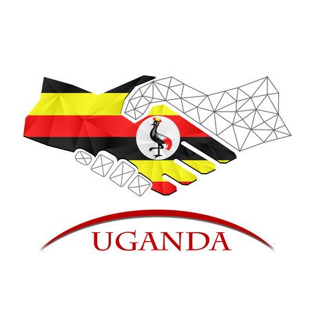 Handshake logo made from the flag of Uganda.