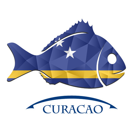 logo poisson: fish logo made from the flag of Curacao